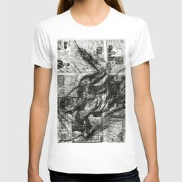 Breaking Loose - Charcoal on Newspaper Figure Drawing T-shirt