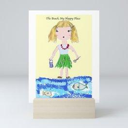 The Beach, My Happy Place Mini Art Print