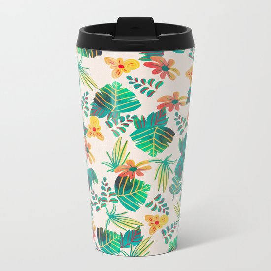 Leaves and Flowers Metal Travel Mug