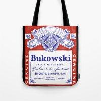 bukowski Tote Bags featuring bukowski by Mathiole