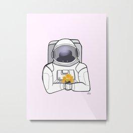 Astronaut and SunFlowers Metal Print