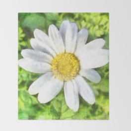 Radiant Daisy Watercolor Throw Blanket