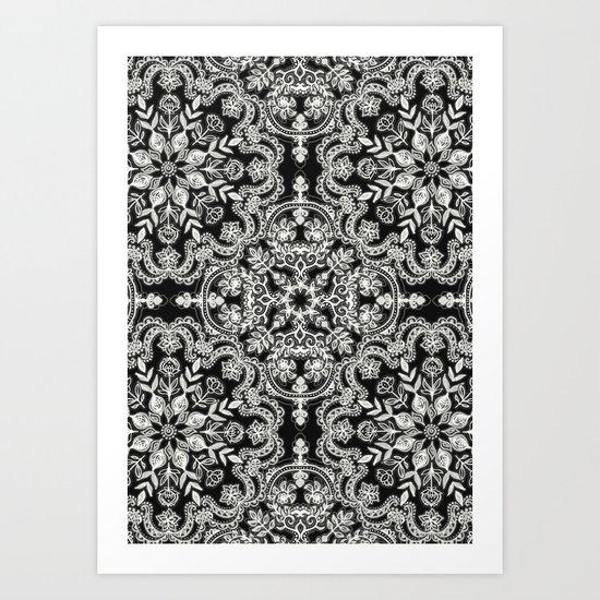 Black & White Folk Art Pattern Art Print