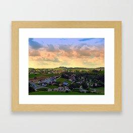 Beautiful village skyline beyond cloudy sky | landscape photography Framed Art Print