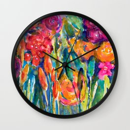 Mexican Bouquet Color Flowers Wall Clock