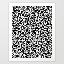 Alphabet Compendium Letter Silhouette Pattern Art Print