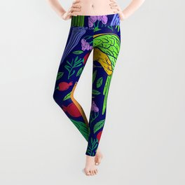 Parrot Island Colorful Tropical Print Leggings