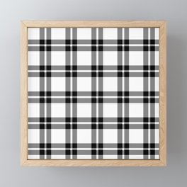 White #ffffff color themed plaid SCOTTISH TARTAN Checkered Fabric Pattern texture background Framed Mini Art Print