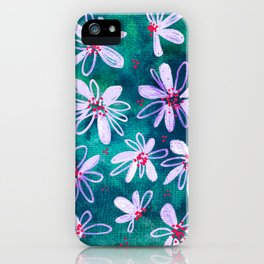 Daisy Flowers | Whimsical Watercolor Daisies on Cyan BlueTeal iPhone Case