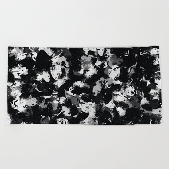 Shades of Gray and Black Oils #1979 Beach Towel