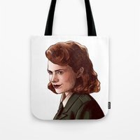 peggy carter Tote Bags featuring Miss Carter by Kelslk