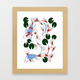 Red and blue koi fish pond. Japanese Print Pattern Framed Art Print