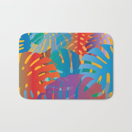 Colorful monstera leaves 2 - gradients Bath Mat