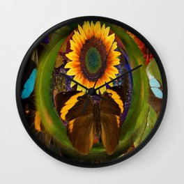 Butterfly and the Flower Wall Clock