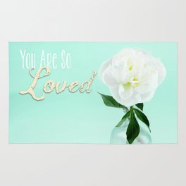 You Are So Loved - Peony in Aqua Rug