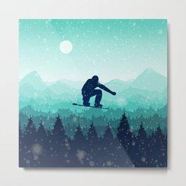 Snowboard Skyline II Metal Print
