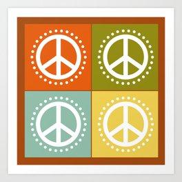 Retro Vacation Peace Squares Art Print