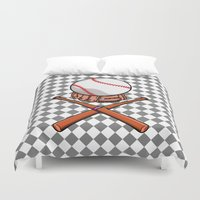 baseball Duvet Covers featuring Baseball by mailboxdisco