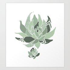 pattern succulent plant Art Print