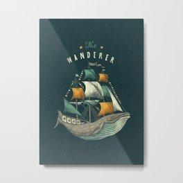 Whale | Petrol Grey Metal Print