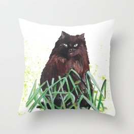grass cat Throw Pillow