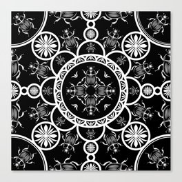 Scarab tile line pattern with black Background Canvas Print
