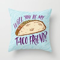 taco Throw Pillows featuring Taco Friend by Josh LaFayette