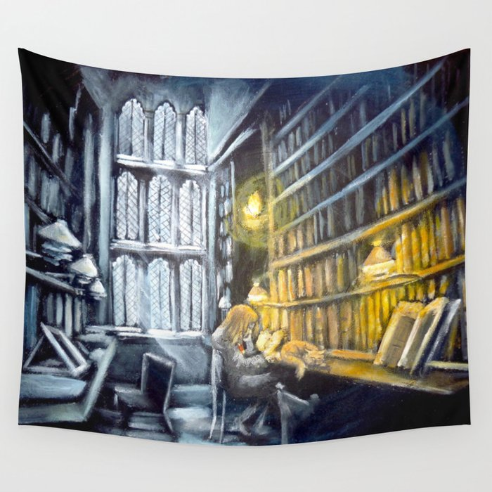 Hermione studying in the library Wall Tapestry by wormholepaintings ...