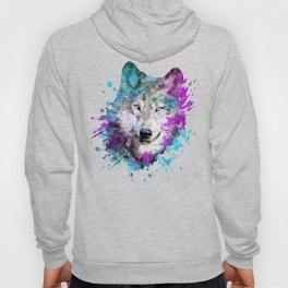 Watercolor wolf wolves head bold artistic painting blue purple violet cyan Hoody