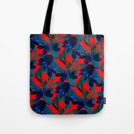 Mixed Paradise Tropicals in Indigo/Red Tote Bag
