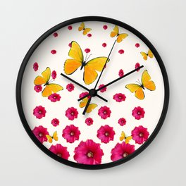 PINK HOLLYHOCKS & YELLOW BUTTERFLY LOVERS ART Wall Clock