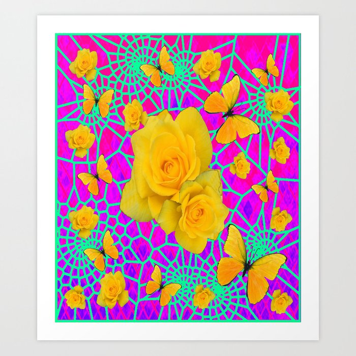 Decorative Golden Yellow Roses Butterflies Purple-green Pattern ...