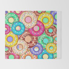 Donuts Punchy Pastel flavours Pattern Throw Blanket