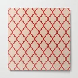 Classic Quatrefoil Lattice Pattern 731 Red and Beige Metal Print