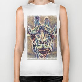 Watercolors - Giraffe Biker Tank