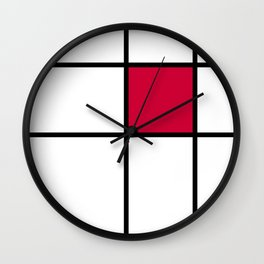 mondrian, piet mondrian, mondrian pattern, mondrian composition, red, Wall Clock