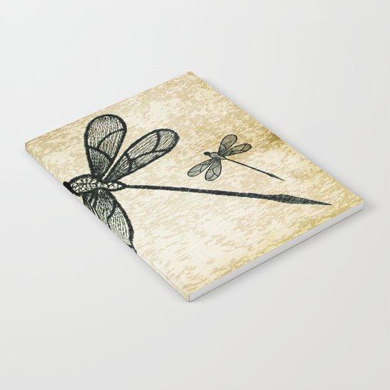 Dragonflies on tan texture Notebook