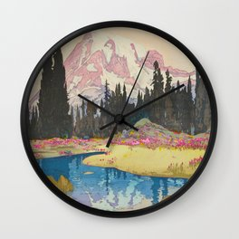 Mount Rainier Vintage Beautiful Japanese Woodblock Print Hiroshi Yoshida Wall Clock