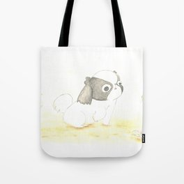 """Arale The Japanese chin """"HELLO, FRIEND!"""" Tote Bag"""