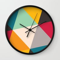 triangles Wall Clocks featuring Triangles by Gary Andrew Clarke