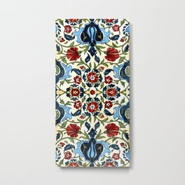 Mediterranean Tile with Carnations Metal Print