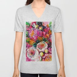 pink bouquet with two white buttercups Unisex V-Neck