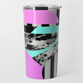 Abstract Geometric Semi Circles In Block Pink, Balck And White And Stripes Travel Mug