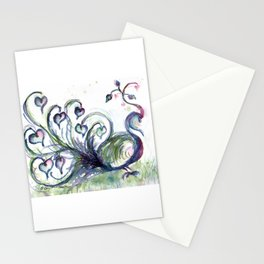 Peacock Pink Hearts watercolour by CheyAnne Sexton Stationery Cards