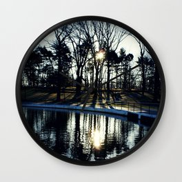 Tree Reflections at Kissena Park Pond - Queens, New York City Wall Clock