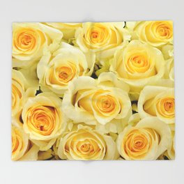 soft yellow roses close up Throw Blanket