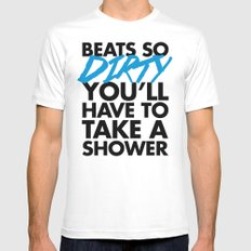 Beats So Dirty Music Quote White Mens Fitted Tee MEDIUM