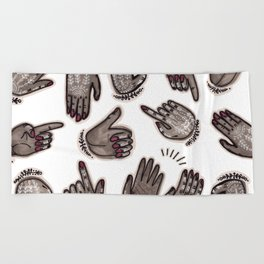 hand gestures and white henna tattoo Beach Towel
