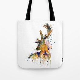 Deer Head Watercolor Silhouette Tote Bag