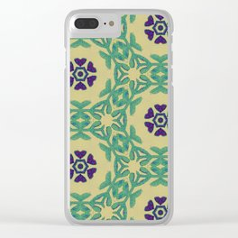 Boho Wall Tapestry in blue/green Clear iPhone Case